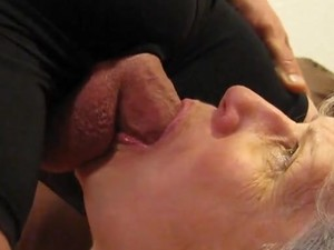 Grandma giving blowjob