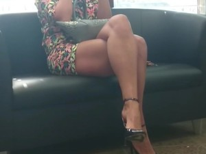Legs candid crossed women with sitting