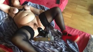 Hairy armpit german milf fills 3 holes