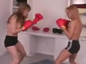 Girls boxing topless foxy